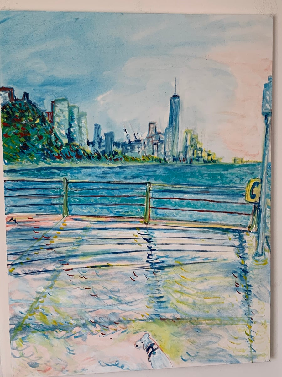 """Image of Elvis in Hudson River Park, 30"""" x 40"""" inches painting"""