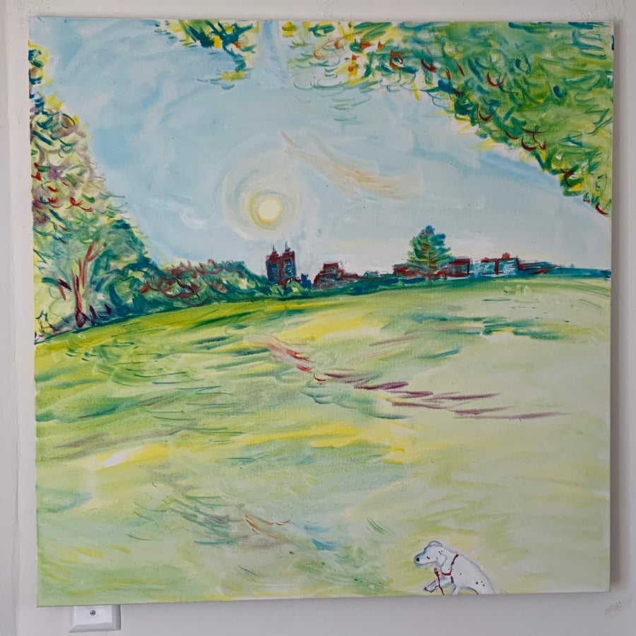 """Image of Elvis in Central Park 30"""" x 30"""" painting"""