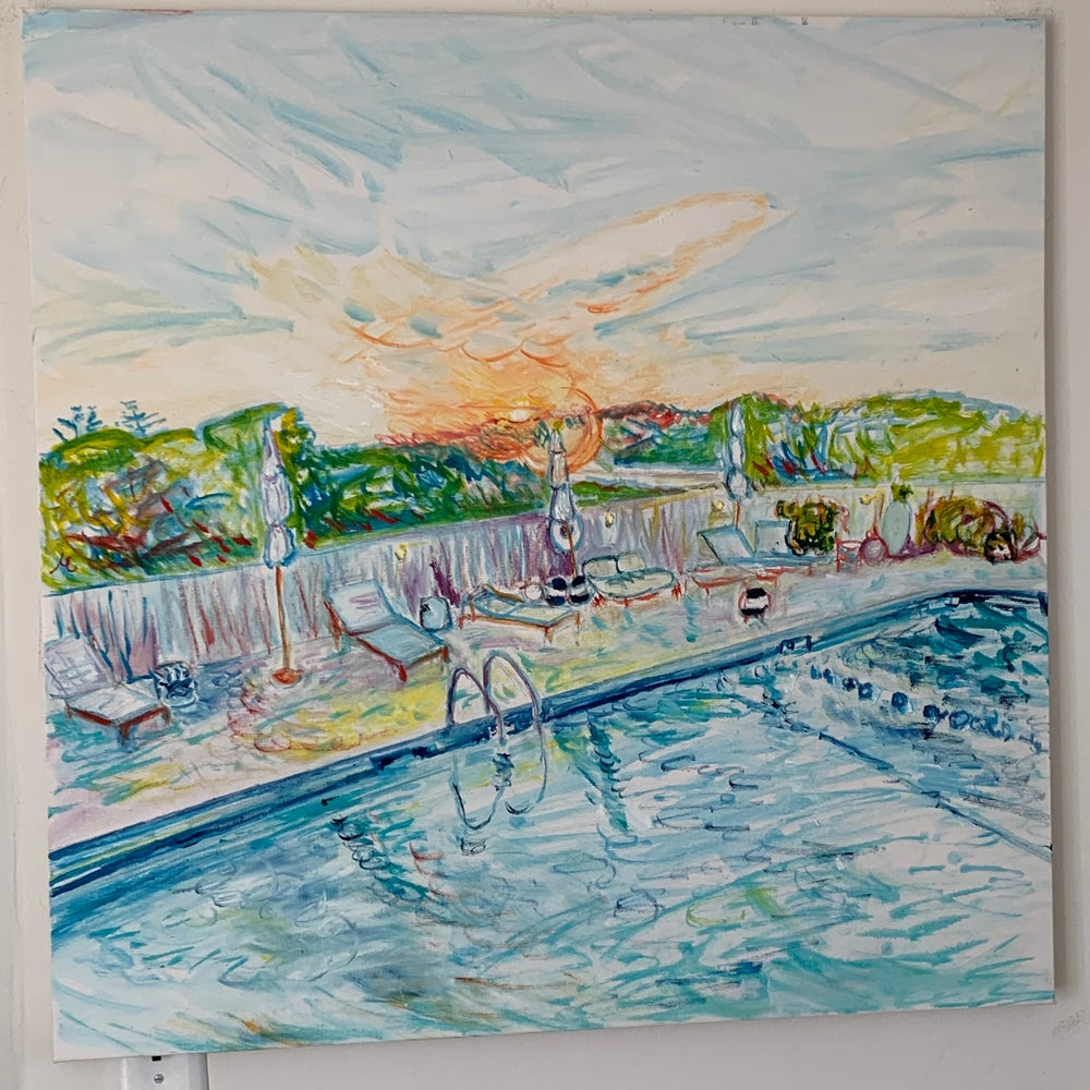 """Image of Golden Hour at the Hero 30"""" x 30"""" painting - Surfergirl Gallery Exclusive"""