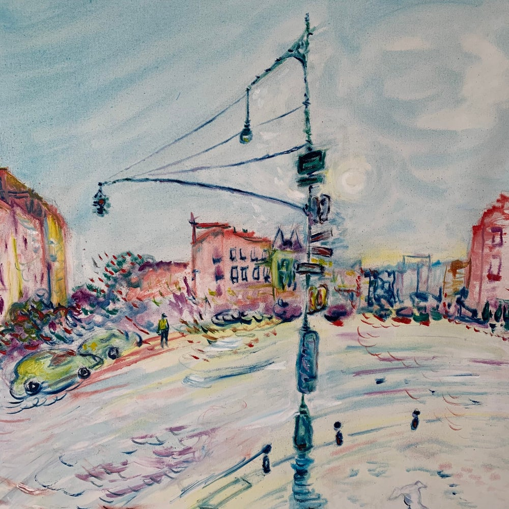 """Image of Greenwich Ave 30"""" x 30"""" painting"""