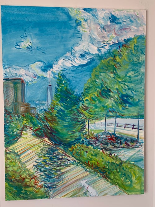 """Image of Hudson River Park path 30"""" x 40"""" painting - Surfergirl Gallery Exclusive"""