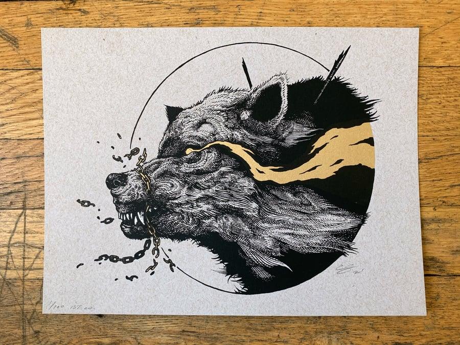"Image of Fenrir - Gold (9x12"")"