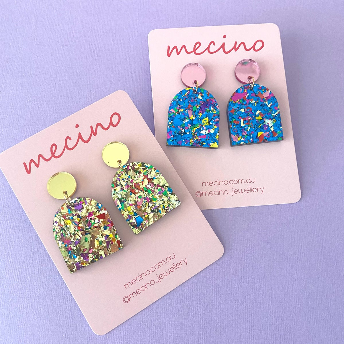 Image of Ele - Sparkly Arch Drops - Gold and Blue