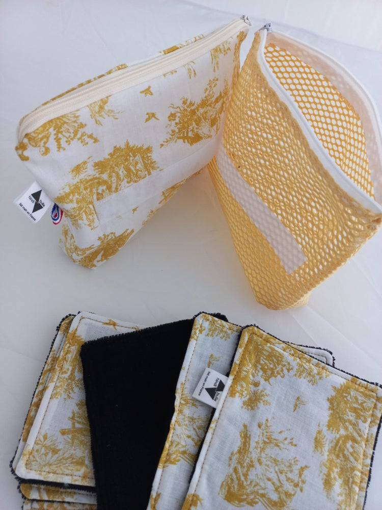 Image of 7 lingettes +trousse +filet de lavage jouy jaune