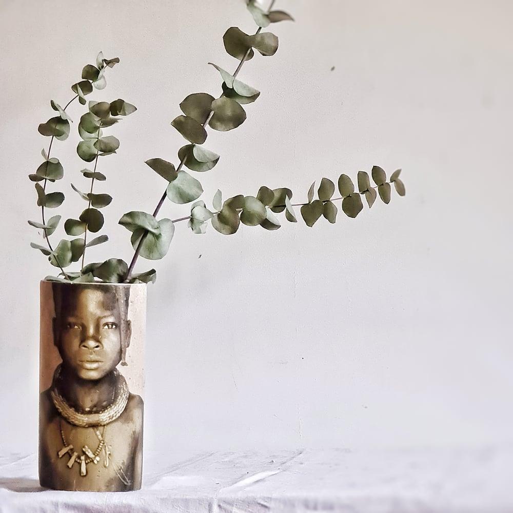 Vase en céramique visage ethnique M 25cm