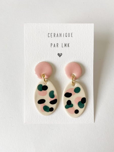 Image of Paire de boucles d'oreilles céramique TOTEM OVALA GM canard / rose / noir