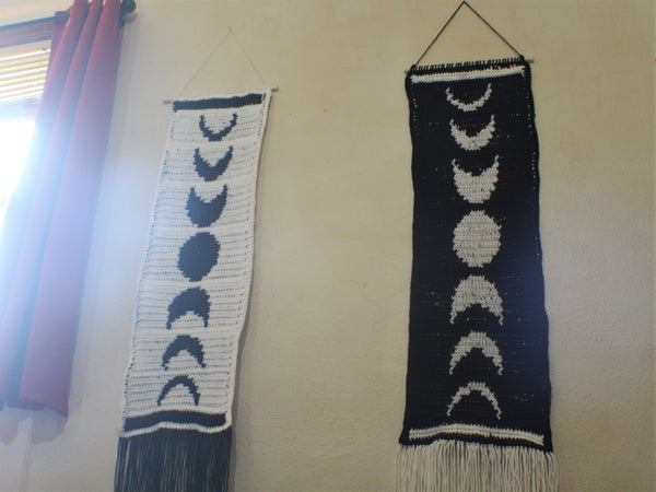"""Image of """"Moon's Phases"""" Crocheted Banner"""