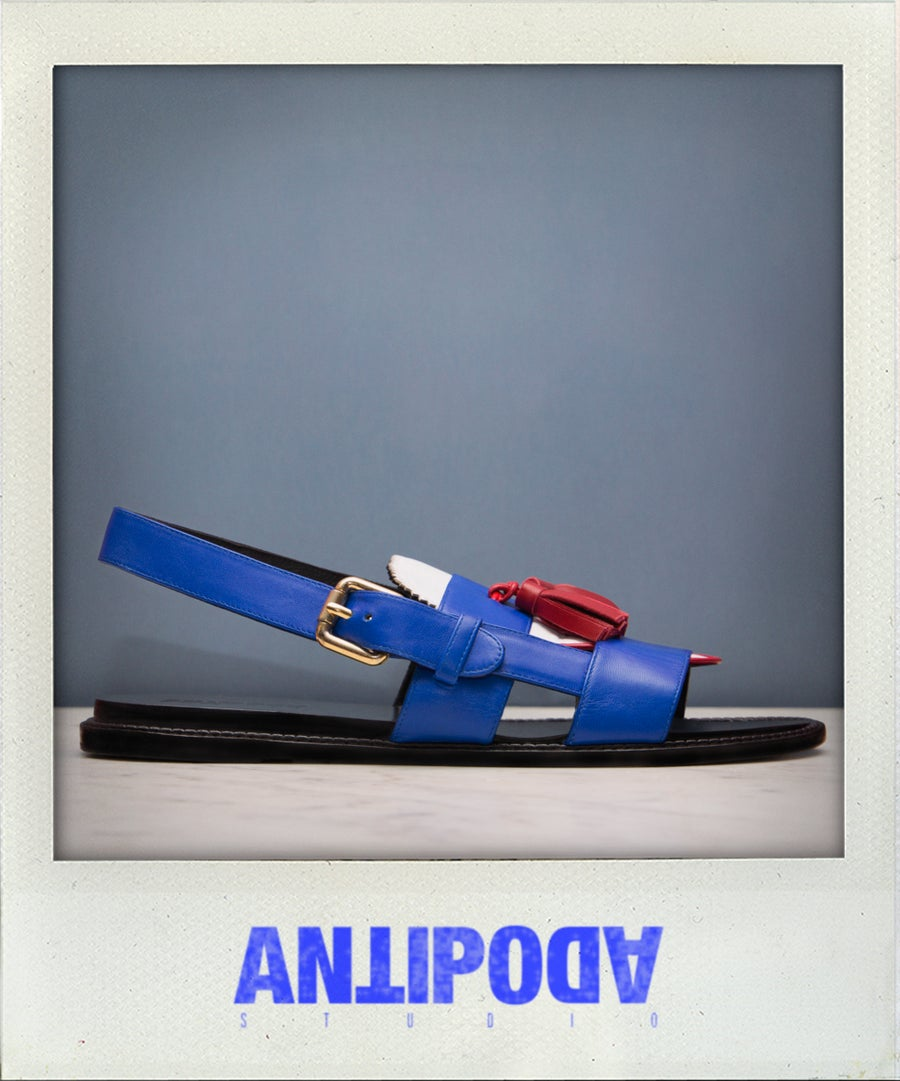 Image of / PEDRO / STUNNING SANDALS IN BLUE, RED & WHITE LEATHER /