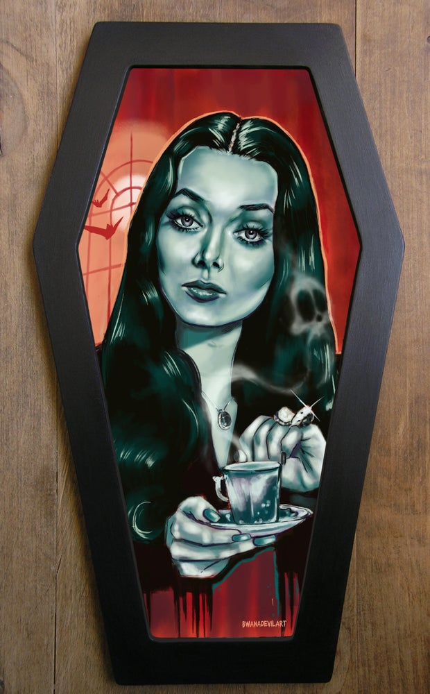 Image of LIMITED EDITION Morticia Addams (Carolyn Jones) Coffin framed Art
