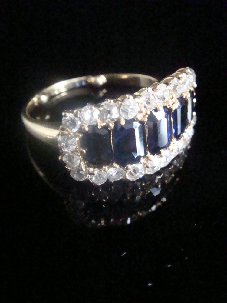 Image of VICTORIAN 18CT BAGUETTE CUT SAPPHIRES AND OLD CUT DIAMOND BOAT RING