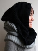 Image of wool hooded neck-warmer - black