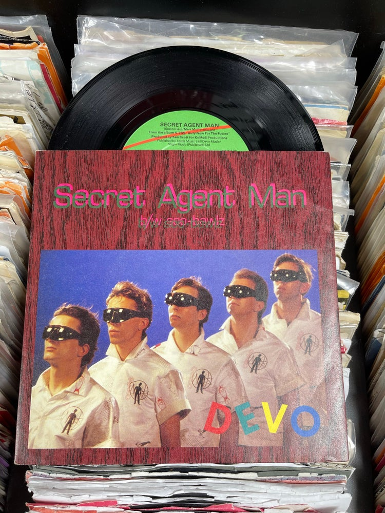 Image of Devo-Secret Agent Man  b/w Soo Bawlz UK Deadstock 7""