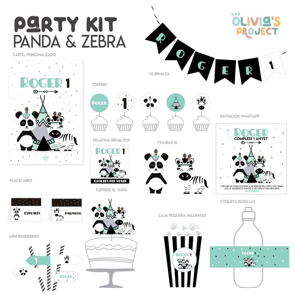 Image of Party Kit Panda and Zebra Impreso