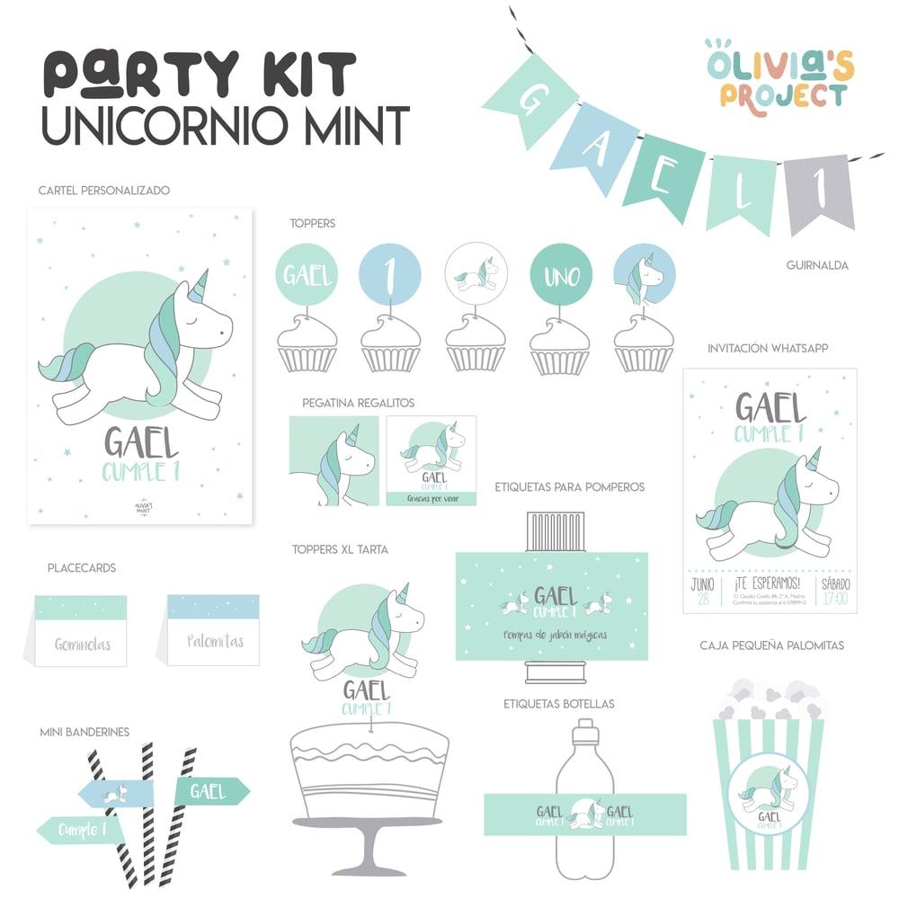 Image of Party Kit Unicornio Mint Impreso