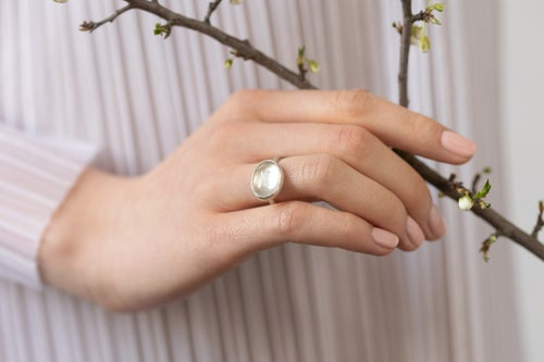"""Image of """"Love"""" silver ring with rock crystal · AMOR ·"""
