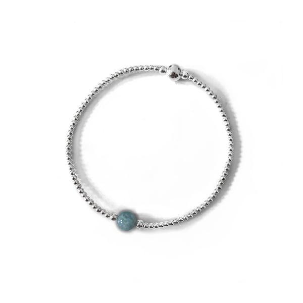Image of Sterling Silver & Aquamarine Bead Bracelet