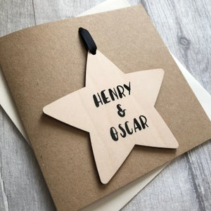 Image of Children's Name Star Decoration Card