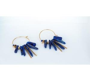 Image of Clandestine - *NOUVEAU MODELE* - Créoles Lapis Lazuli GM