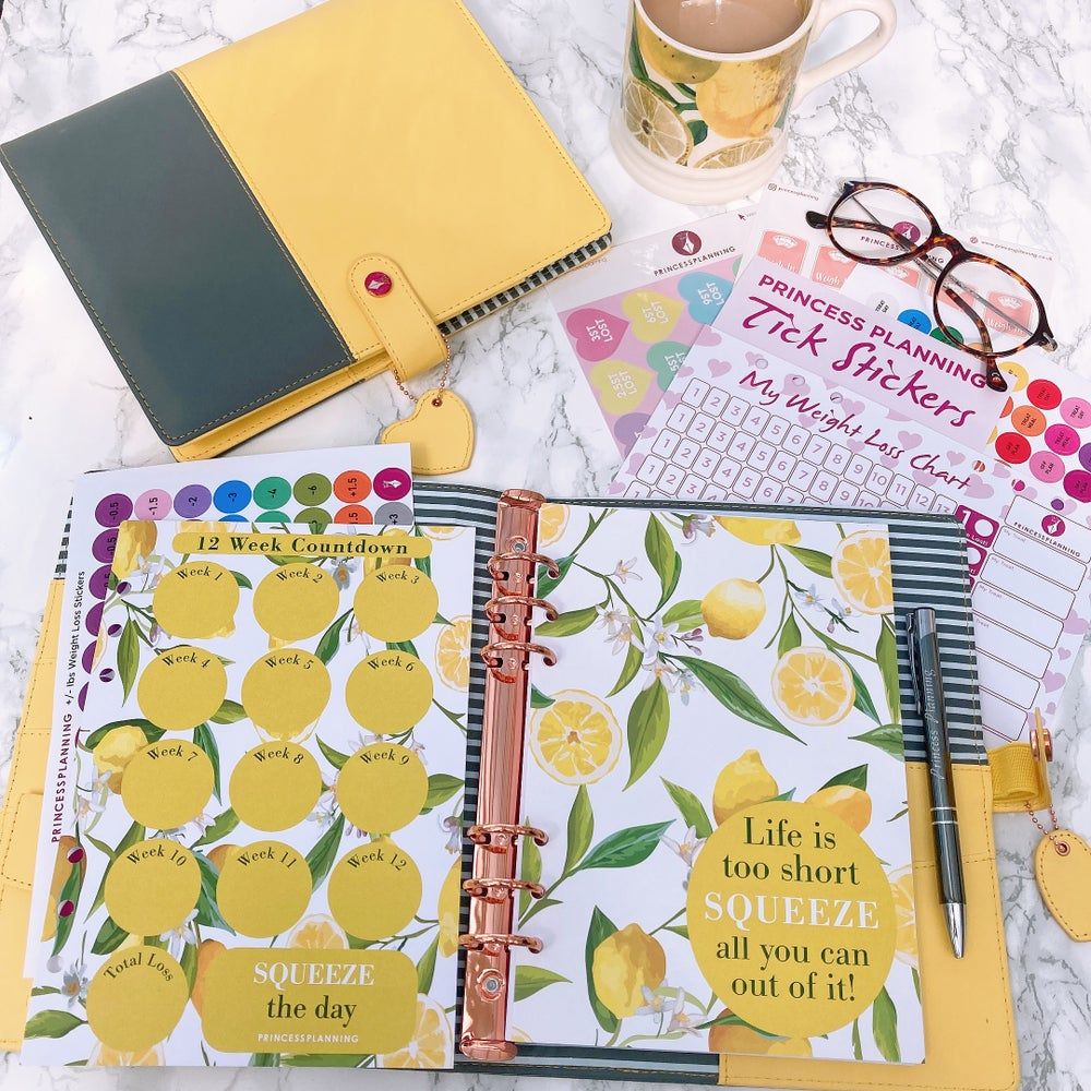 Image of SALLY SUNSHINE YELLOW FULLY LOADED FOOD DIARY ORGANISER BUNDLE- LIFE IS SHORT