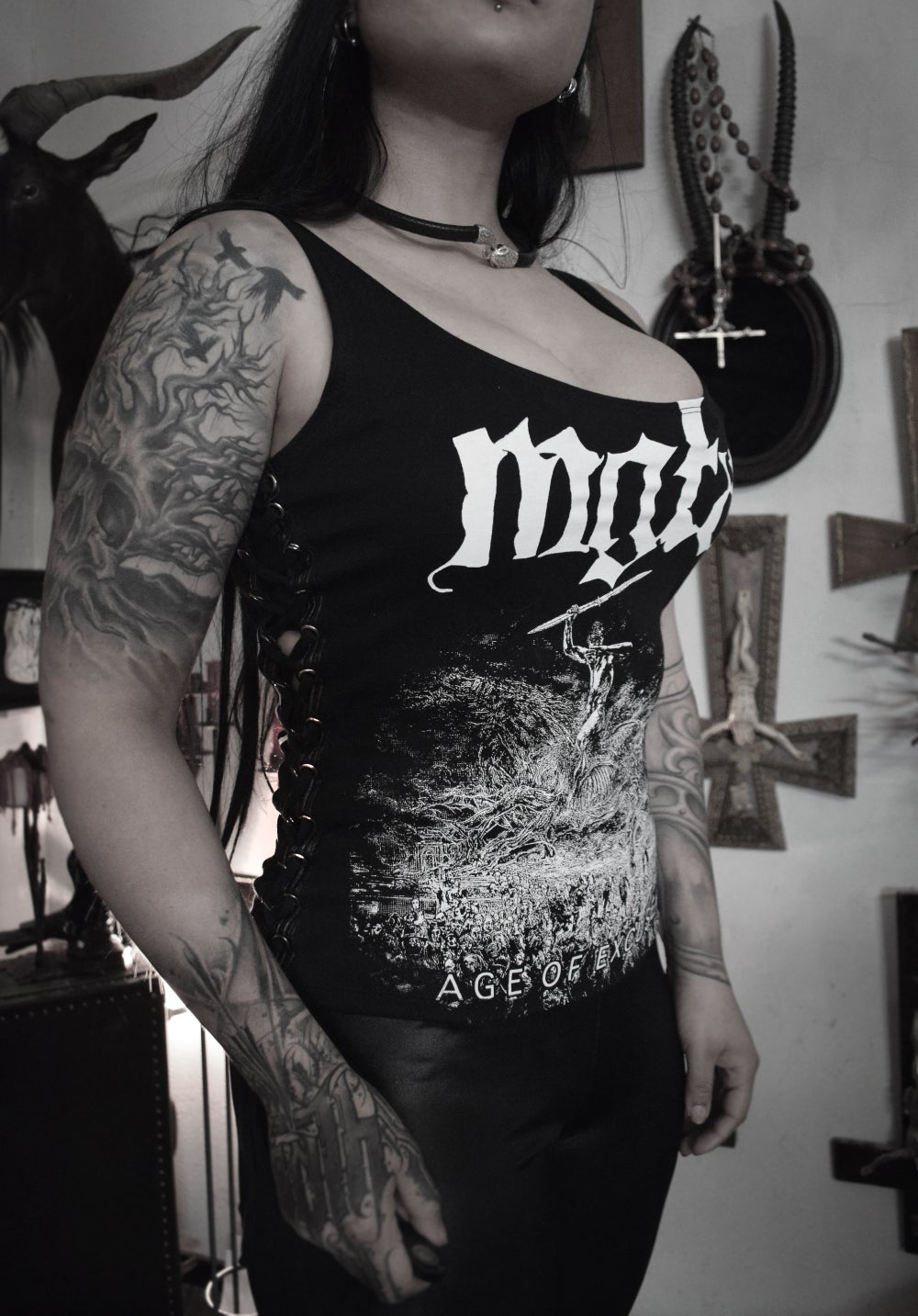 Image of Mgła Age of excuse Lace-up Side Top - FREE SHIPPING