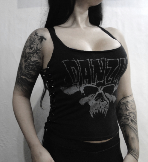 Image of DANZIG ⇹ Black Lace-up Sides Tank Top - FREE SHIPPING