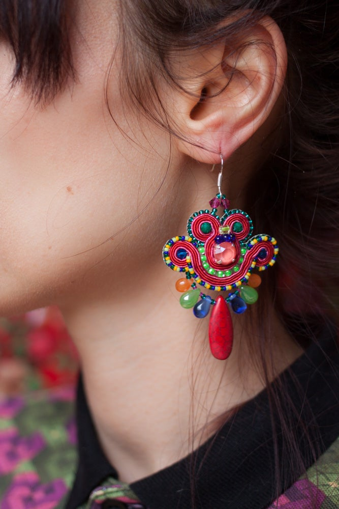 Image of Mini Earrings - Get this party started - petites boucles brodées