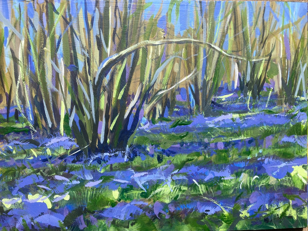 Image of Bluebells under Lime - Plein Air Acrylic study