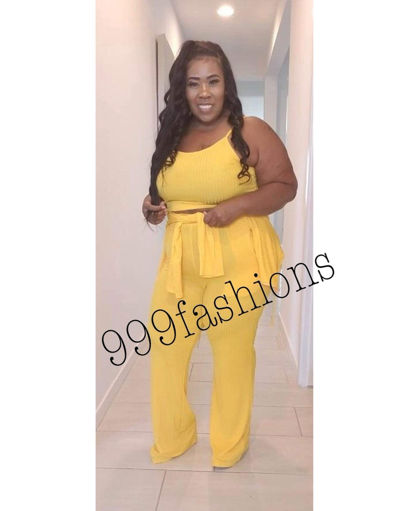 Image of #1024 YELLOW PLUS SIZE RIBBED 3-PIECE PANT SET