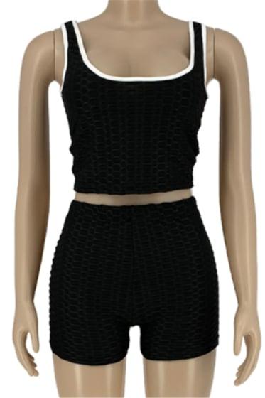 Image of Crop top 2 piece shorts set