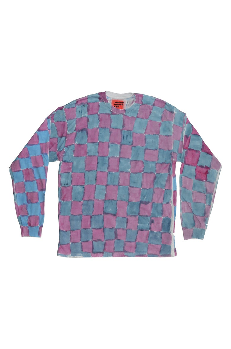 Image of peony and blue long sleeve XL