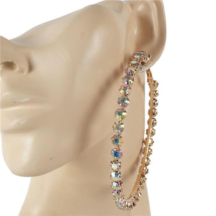 Image of Oversized Crystal Hoop Earrings