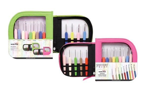 Image of Knitter's Pride - Waves - Crochet Hook Set (Single Ended) In Neon *PINK SET* Faux Leather Bag