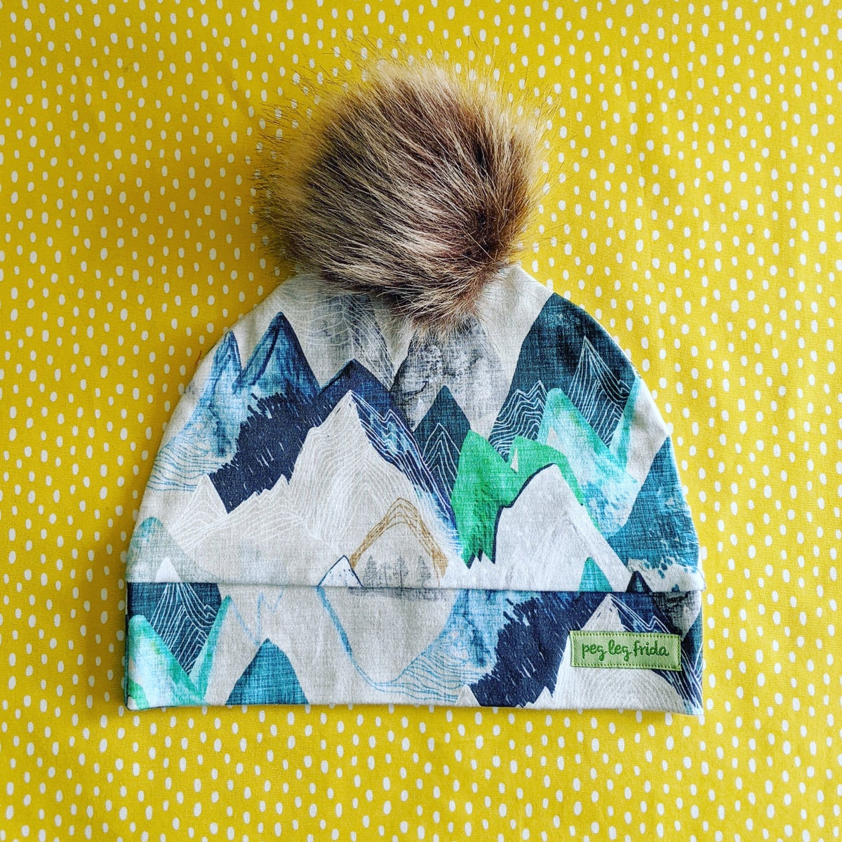 Image of Beanie - Wintery Mountains (Brown Pom)