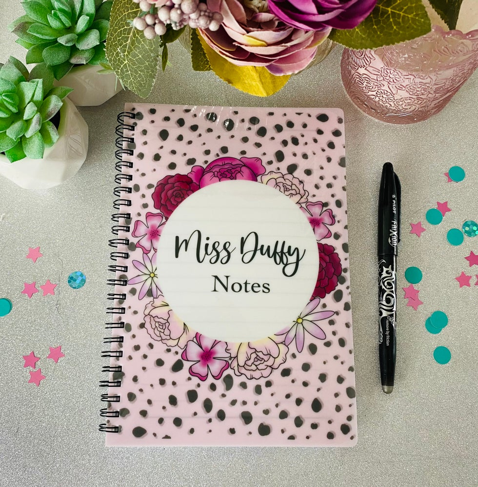 Image of A5 floral Dalmatian print notebook