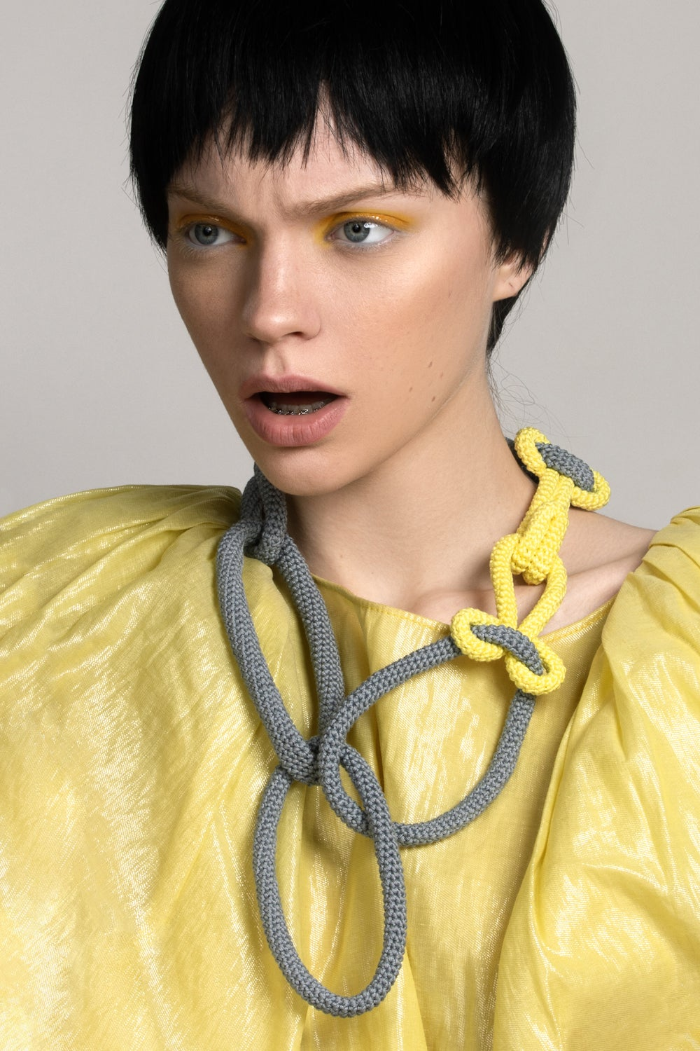 Image of Crochet Chain Necklace in Gray and Illuminating Yellow