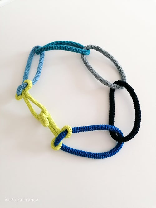 Image of Crochet Chain Necklace in Blues and Yellow