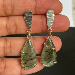 Image of Silver and Green Rutilated Quartz  earrings