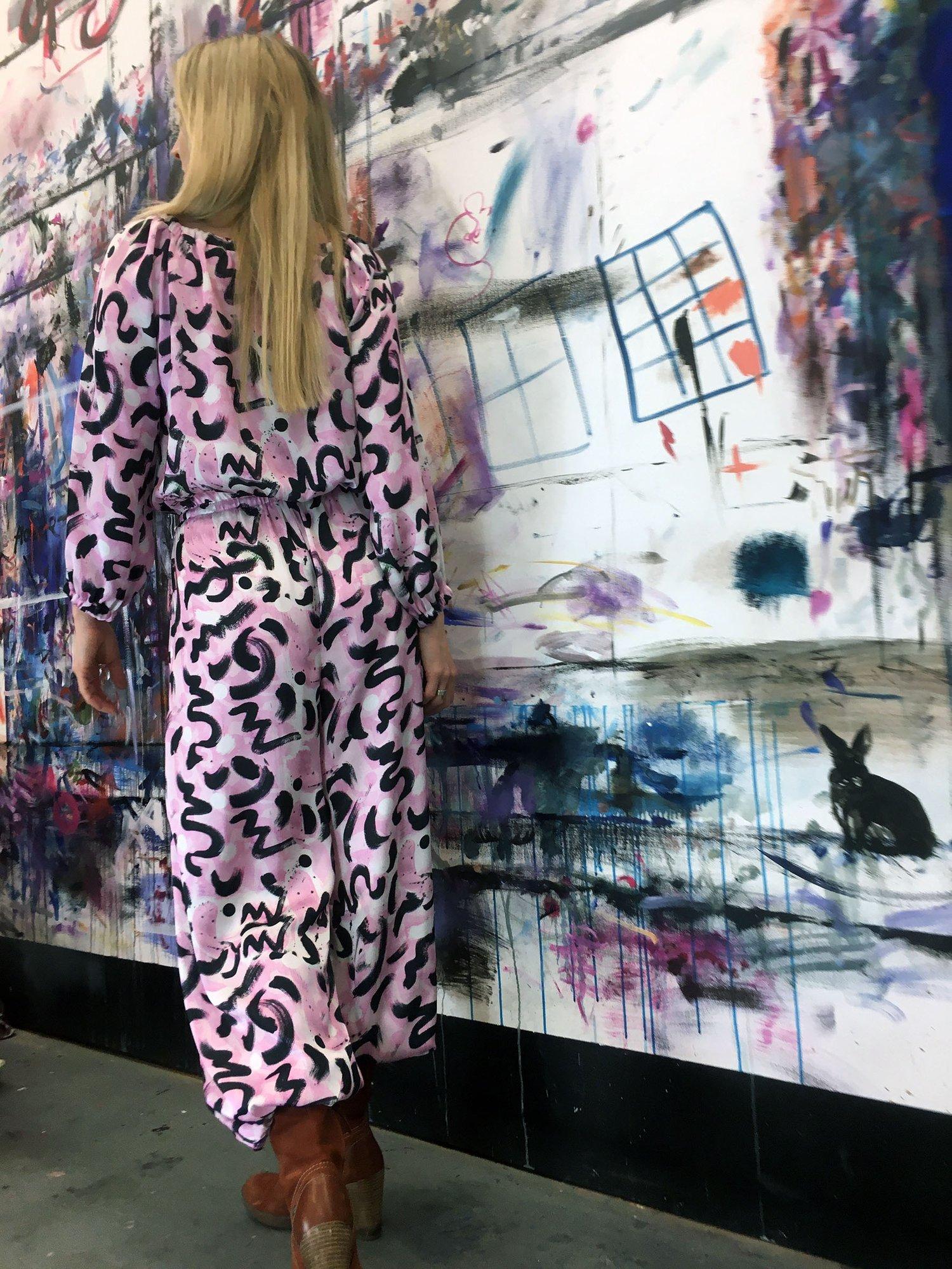 Image of  Pink Scribble Silk-Satin Jumpsuit