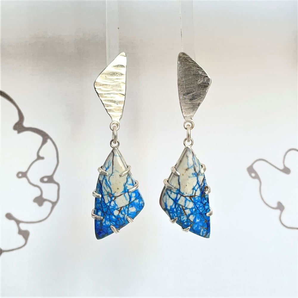 Image of Sterling silver and Azurite earrings