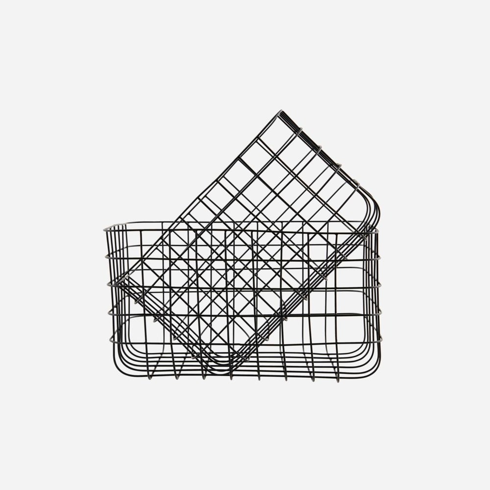 Image of Black wire baskets - set of 2