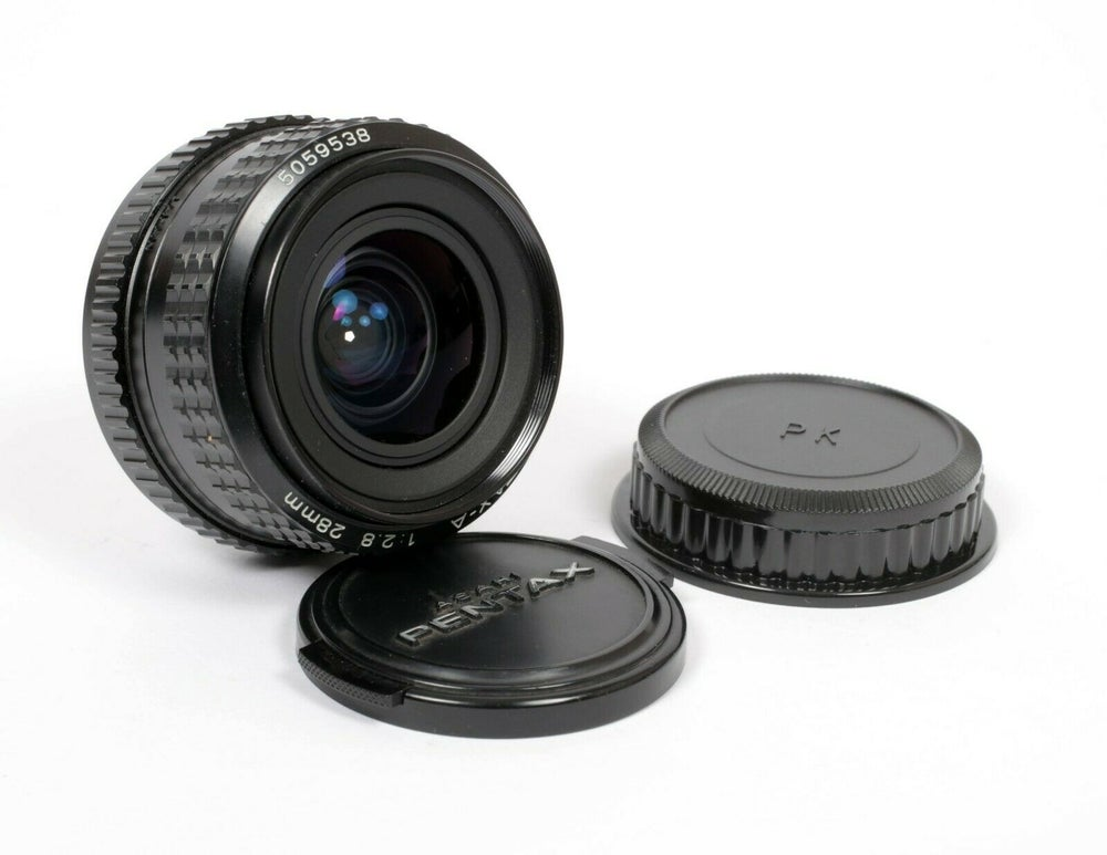 Image of Pentax SMC A 28mm F2.8 K Mount lens with caps