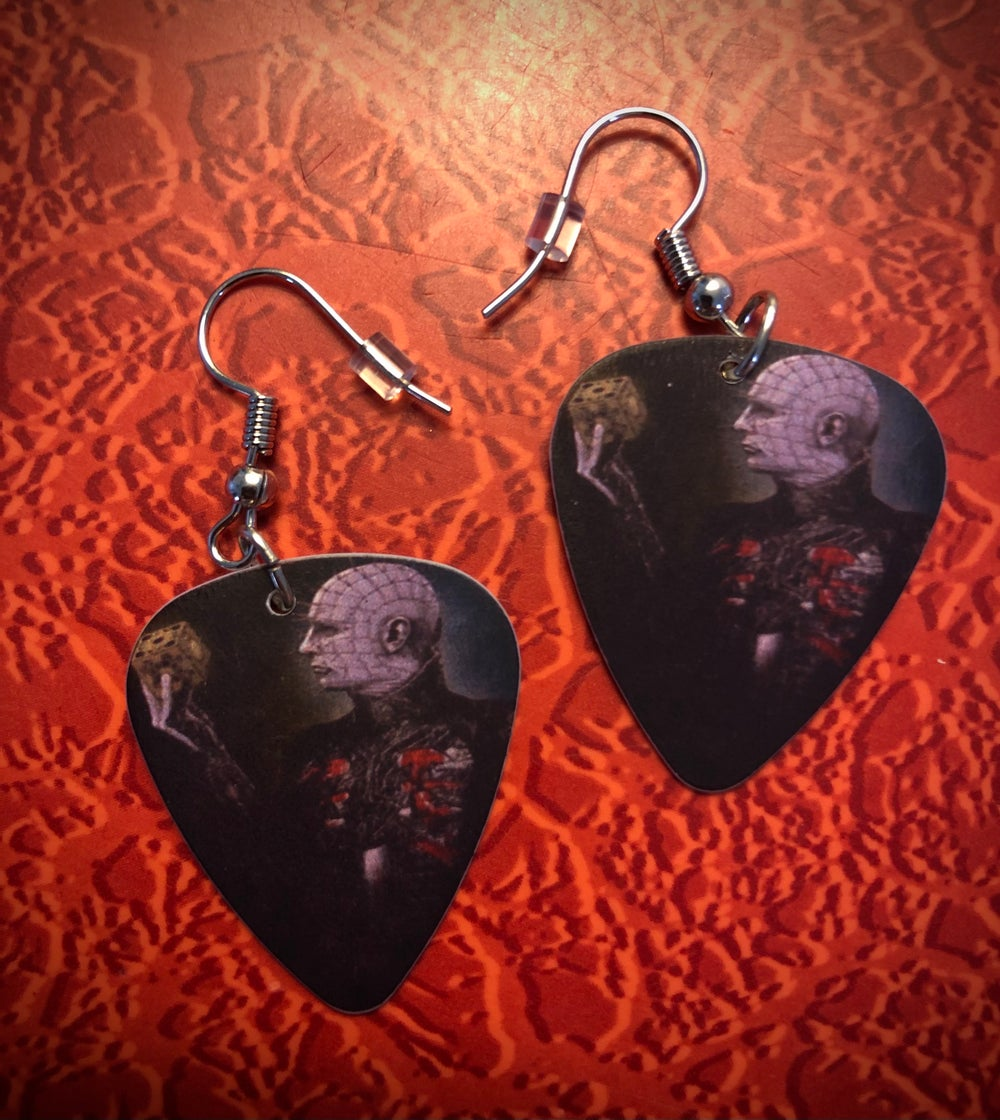 Horror guitar pick earrings!