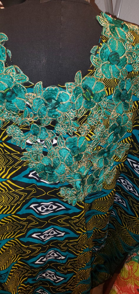 Image of Makeb open gown (green and blue)