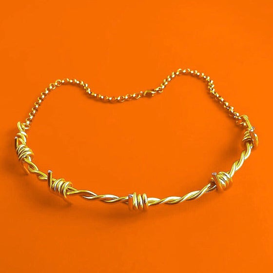 Image of BARBED WIRE CHOKER THIN CHAIN