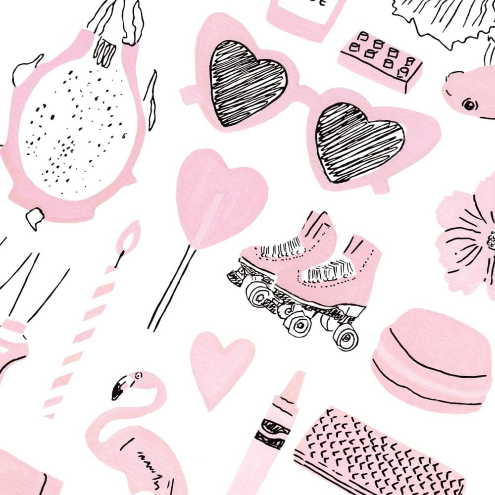 Image of Pink things print