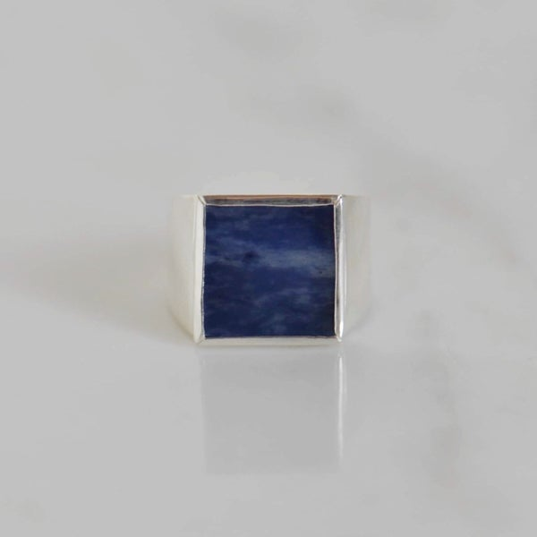Image of Sodalite square flat cut wide band silver ring
