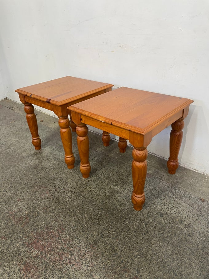 Image of PAIR OF PINE SIDE TABLES