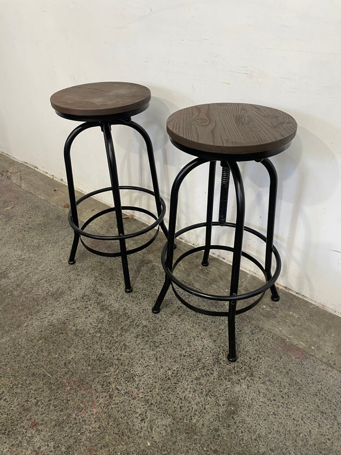 Image of PAIR OF INDUSTRIAL BAR STOOLS