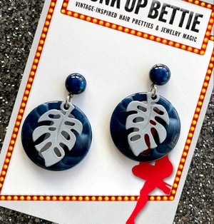 Image of Miss Monstera Deliciosa Earrings - Blueberry/ Grey