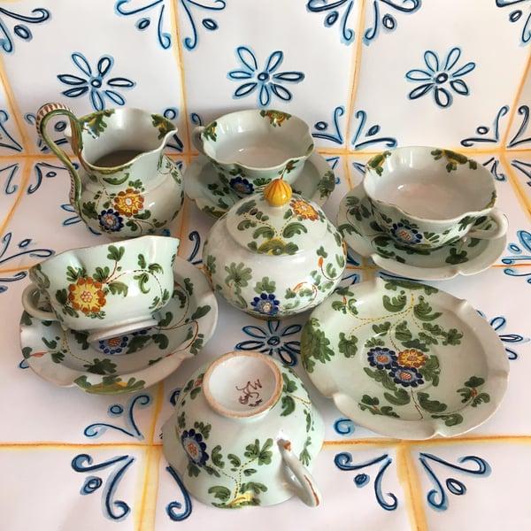 Image of Floral Italian tea set - 10 pieces